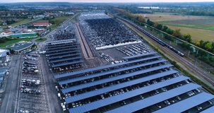 New car park and truck with solar panel. In aerial view stock photos