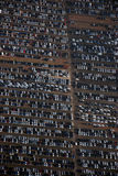 New car parking. An aerial view of a new car parking area Royalty Free Stock Images