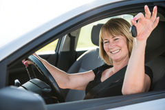 New car - portrait of senior woman Royalty Free Stock Images
