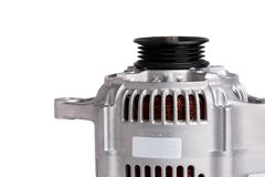 New car power generator, isolated on white background. Details of the engine of the car. stock image