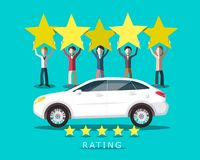 New Car Rating with People Holding Five Stars. Vector Flat Design Customer Satisfaction Symbol vector illustration