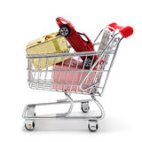 New car in a shopping basket Royalty Free Stock Photography