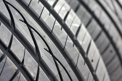 New car tire. Close up of new car tire Royalty Free Stock Image