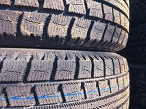 New car tire texture at the garage background royalty free stock image
