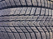 New car tire texture at the garage background royalty free stock images