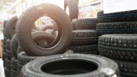 New car tires for sale in the shop royalty free stock image