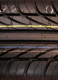New car tires stripes. Car tires stripes close up royalty free stock photography