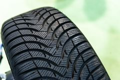 New car tyre closeup photo Stock Photography