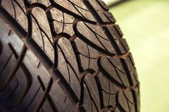 New car tyre closeup photo Stock Image