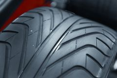 New car tyre closeup photo Royalty Free Stock Photos