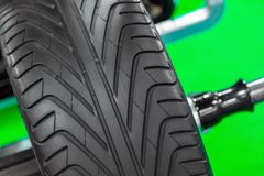 New car tyre closeup photo Royalty Free Stock Photos
