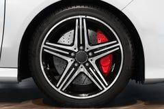 New car tyre closeup photo Stock Photo