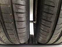 New car tyres closeup Stock Photo