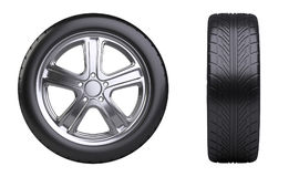 New car wheel, front and side view. Royalty Free Stock Photography