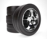 New car wheel with winter tire stacked up Stock Images