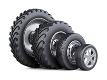 New car wheels set with disk for cars, tractor and big trucks. vector illustration