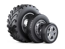 New car wheels set with disk for cars, tractor and trucks. Royalty Free Stock Image
