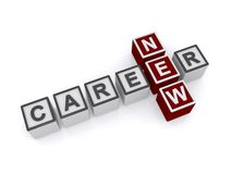 New career. Words 'new' and 'career' inscribed in uppercase letters on small cubes and arranged crossword style, white background royalty free stock photo