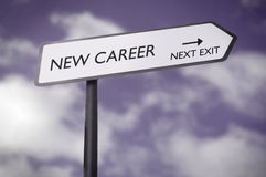 New career. Road sign pointing towards the next exit Royalty Free Stock Image
