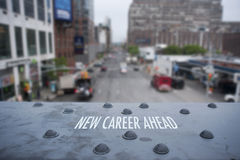 New Career Ahead. Sign on Iron Beam Royalty Free Stock Image