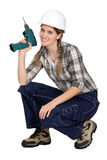 New career prospects for women. New career prospects for woman as a builder Royalty Free Stock Image