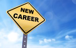 New career sign. On blue sky background,3d rendered Stock Images