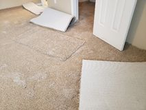 New carpet installed in the bedroom of a house.  stock images