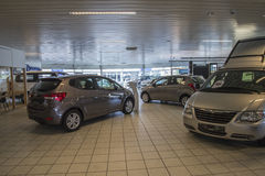 New cars in a car-dealership Royalty Free Stock Image