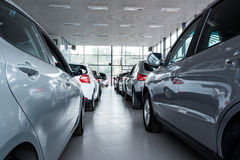 New cars at dealer showroom Stock Images