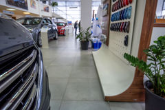 New cars at dealer showroom Stock Photography