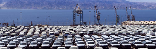 New cars in Eilat's port, Israel Stock Images