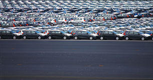 New cars on the factory parking place stock photography