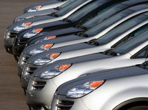 New cars in a lot. New cars in a parking lot royalty free stock photo
