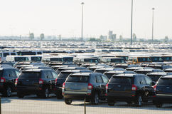New cars parked at distribution center Royalty Free Stock Photos