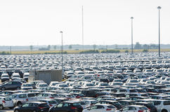 New cars parked at distribution center Royalty Free Stock Photography