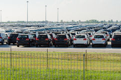 New cars parked at distribution center Stock Photography
