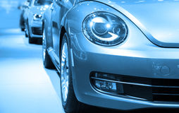 New cars parked in a row Royalty Free Stock Image