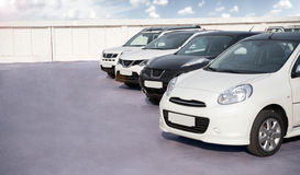 New cars are in the parking lot Royalty Free Stock Photo