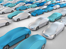 New cars in parking place. 3D rendering: new cars in a row Stock Photos