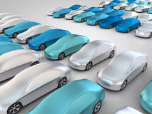 New cars in parking place. 3D rendering: new cars in a row Royalty Free Stock Images