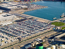 New cars, port of Barcelona, Spain, aerial view. New cars parked at the port of Barcelona, Spain, aerial view royalty free stock images
