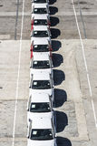 New cars ready for shipment at the port of Barcelona Stock Photos