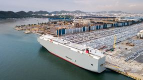 New cars ready to ship in the port of Thailand Stock Photos