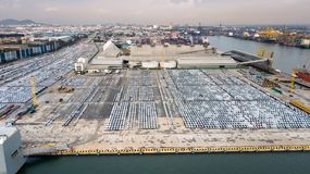 New cars ready to ship in the port of Thailand Royalty Free Stock Images