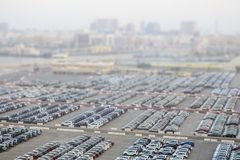 New cars in rows stored at port Rashid in Dubai, UAE royalty free stock photos