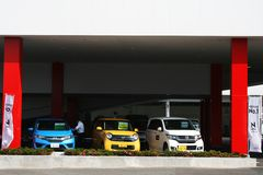 New cars for test drives at a Honda car showroom Royalty Free Stock Image