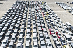 New cars and vans in the port of Barcelona Stock Photography