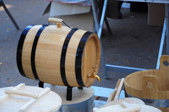 New Cask of Wine on the Roadside Market.  Wooden Barrel. Royalty Free Stock Photo