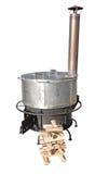 A new cast iron wood stove burning hot Stock Photos