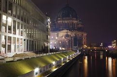 New castle and Berlin cathedral at night Royalty Free Stock Image